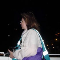 Megan catches me on the boat cruise during our evening bike tour.