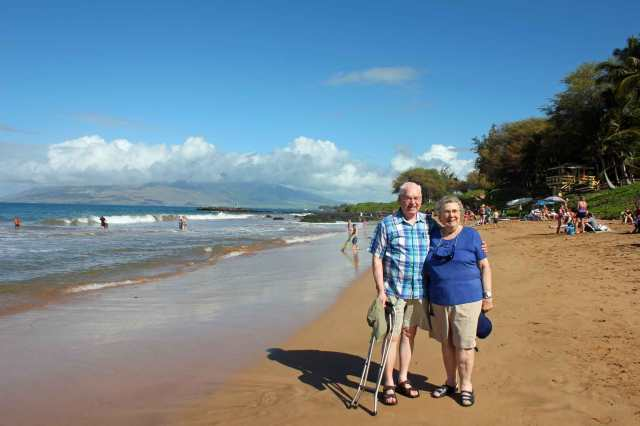 Mom and Dad enjoying their first visit to one of Hawaii's best beaches -- just in front of our resort!