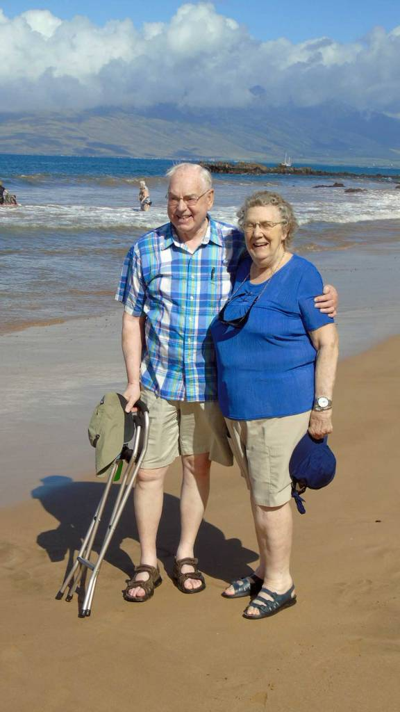 Here are Mom and Dad, slathered in sunscreen, enjoying the beach at Kamaole Beach 3.